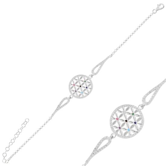 Ürün resmi: Rodyum Kaplama Yaşam Çiçeği Zirkon Taşlı Gümüş Bayan Bileklik