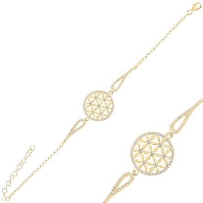Resim Altın Kaplama Yaşam Çiçeği Zirkon Taşlı Gümüş Bayan Bileklik