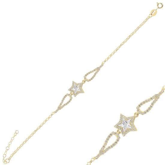 Ürün resmi: Altın Kaplama Yıldız Zirkon Taşlı Gümüş Bayan Bileklik