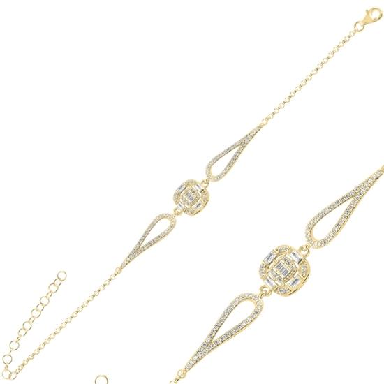 Ürün resmi: Altın Kaplama Baget Zirkon Taşlı Gümüş Bayan Bileklik