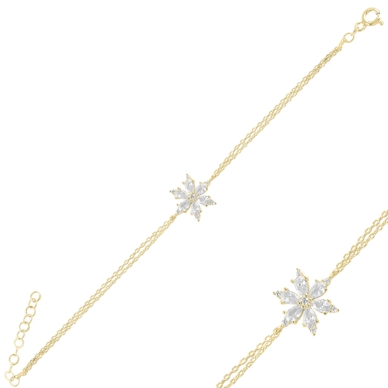 Ürün resmi: Altın Kaplama Kar Tanesi Damla Zirkon Taşlı Gümüş Bayan Bileklik