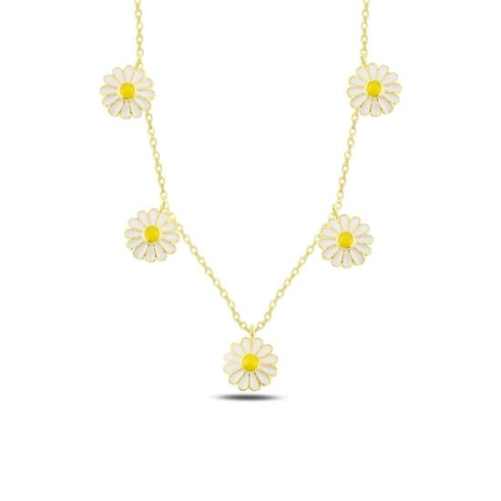 Ürün resmi: Altın Kaplama Papatya Mineli Sallantılı Gümüş Bayan Kolye