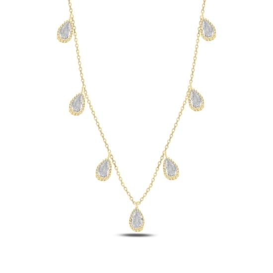 Ürün resmi: Altın Kaplama Damla Zirkon Taşlı Sallantılı Gümüş Bayan Kolye