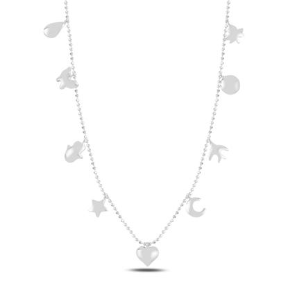 Resim Rodyum Kaplama Karışık Figürlü Sallantılı Gümüş Bayan Kolye
