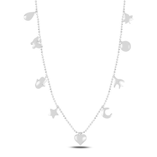 Ürün resmi: Rodyum Kaplama Karışık Figürlü Sallantılı Gümüş Bayan Kolye