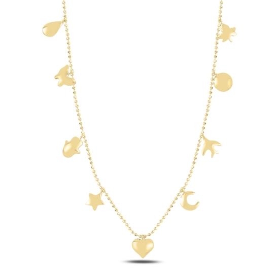 Ürün resmi: Altın Kaplama Karışık Figürlü Sallantılı Gümüş Bayan Kolye