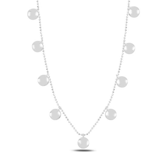 Ürün resmi: Rodyum Kaplama Yuvarlak Sallantılı Gümüş Bayan Kolye