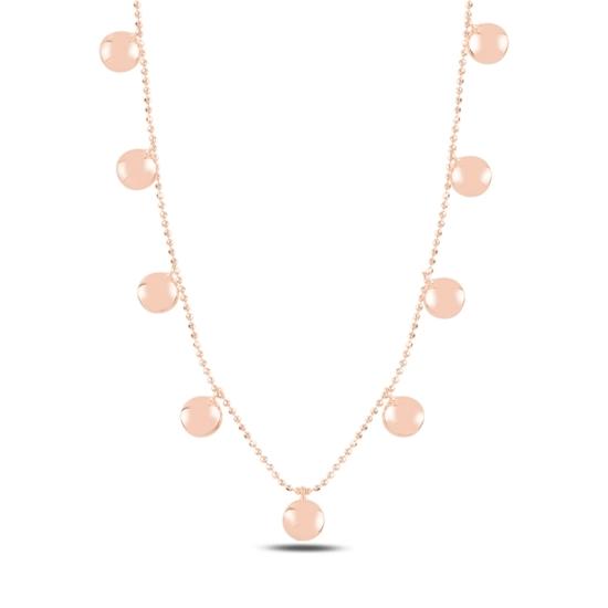 Ürün resmi: Rose Kaplama Yuvarlak Sallantılı Gümüş Bayan Kolye