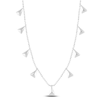 Resim Rodyum Kaplama Üçgen Sallantılı Gümüş Bayan Kolye