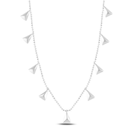 Ürün resmi: Rodyum Kaplama Üçgen Sallantılı Gümüş Bayan Kolye