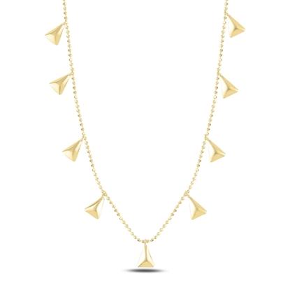 Resim Altın Kaplama Üçgen Sallantılı Gümüş Bayan Kolye