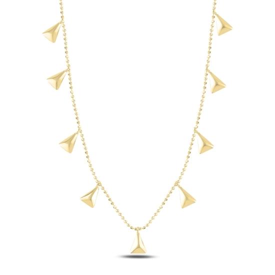 Ürün resmi: Altın Kaplama Üçgen Sallantılı Gümüş Bayan Kolye