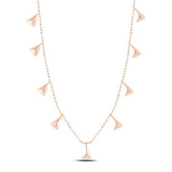 Ürün resmi: Rose Kaplama Üçgen Sallantılı Gümüş Bayan Kolye