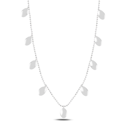 Resim Rodyum Kaplama Oval Sallantılı Gümüş Bayan Kolye