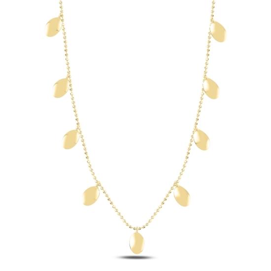 Ürün resmi: Altın Kaplama Oval Sallantılı Gümüş Bayan Kolye