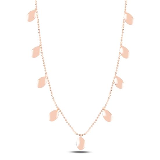 Ürün resmi: Rose Kaplama Oval Sallantılı Gümüş Bayan Kolye