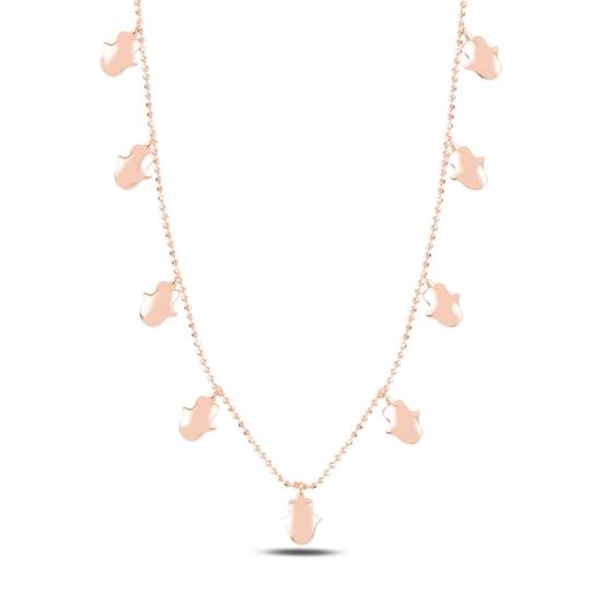 Ürün resmi: Rose Kaplama Fatma Ana Eli Sallantılı Gümüş Bayan Kolye