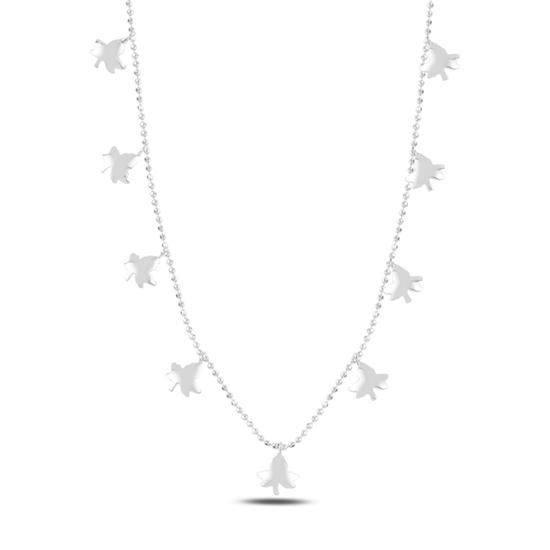 Ürün resmi: Rodyum Kaplama Çınar Yaprağı Sallantılı Gümüş Bayan Kolye