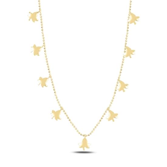 Ürün resmi: Altın Kaplama Çınar Yaprağı Sallantılı Gümüş Bayan Kolye