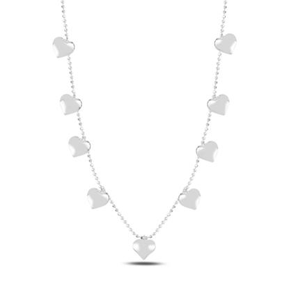 Resim Rodyum Kaplama Kalp Sallantılı Gümüş Bayan Kolye
