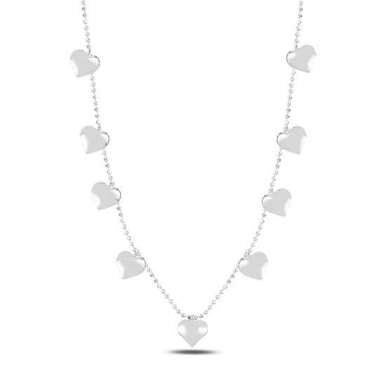 Ürün resmi: Rodyum Kaplama Kalp Sallantılı Gümüş Bayan Kolye