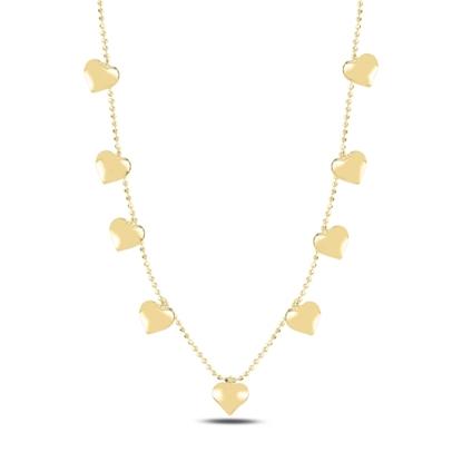 Resim Altın Kaplama Kalp Sallantılı Gümüş Bayan Kolye
