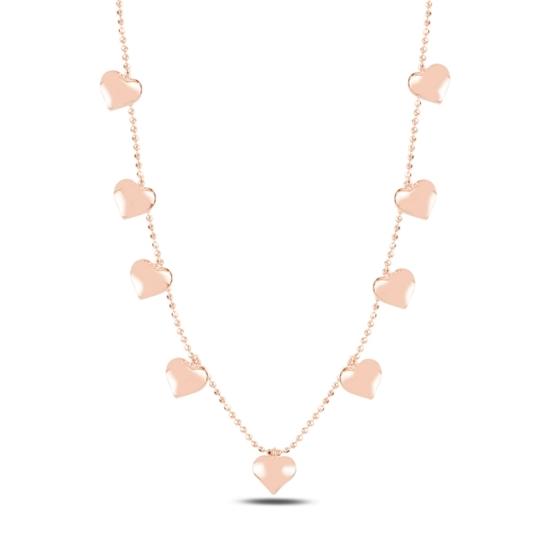 Ürün resmi: Rose Kaplama Kalp Sallantılı Gümüş Bayan Kolye
