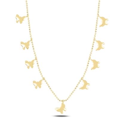Resim Altın Kaplama Kelebek Sallantılı Gümüş Bayan Kolye