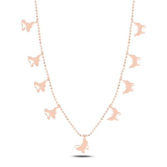 Ürün resmi: Rose Kaplama Kelebek Sallantılı Gümüş Bayan Kolye