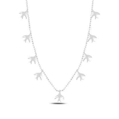 Resim Rodyum Kaplama Kuş Sallantılı Gümüş Bayan Kolye