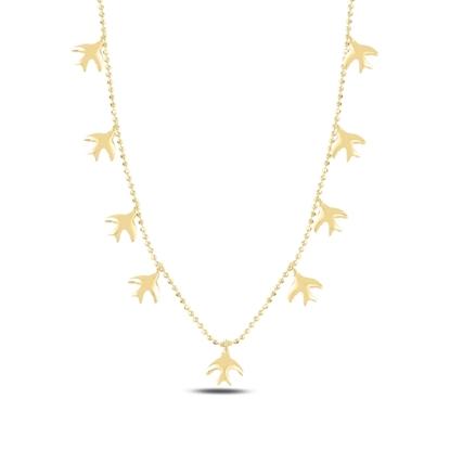 Resim Altın Kaplama Kuş Sallantılı Gümüş Bayan Kolye