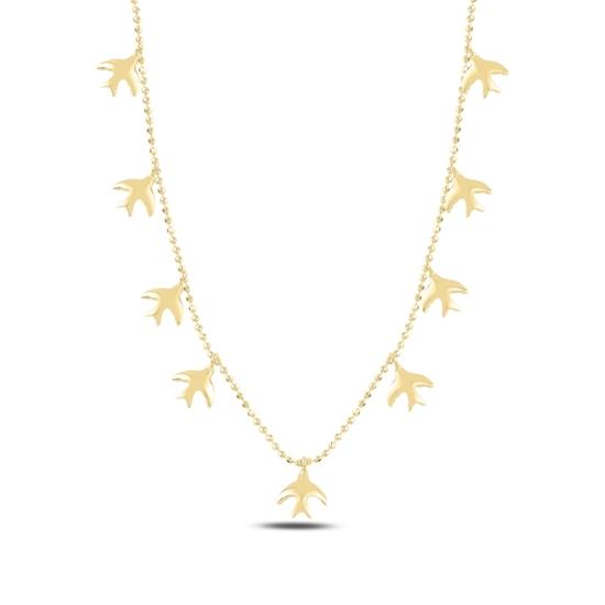 Ürün resmi: Altın Kaplama Kuş Sallantılı Gümüş Bayan Kolye