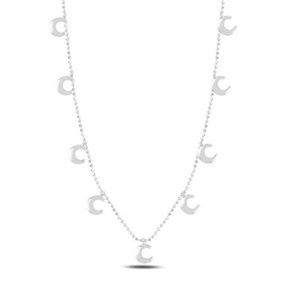 Resim Rodyum Kaplama Hilal Sallantılı Gümüş Bayan Kolye
