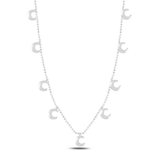 Ürün resmi: Rodyum Kaplama Hilal Sallantılı Gümüş Bayan Kolye