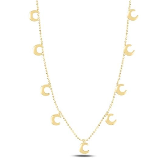 Ürün resmi: Altın Kaplama Hilal Sallantılı Gümüş Bayan Kolye