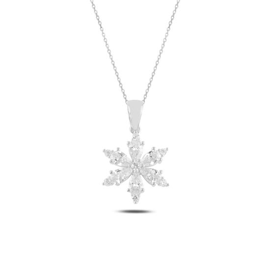 Ürün resmi: Rodyum Kaplama Lotus Çiçeği Damla Zirkon Taşlı Gümüş Bayan Kolye