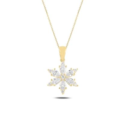 Resim Altın Kaplama Lotus Çiçeği Damla Zirkon Taşlı Gümüş Bayan Kolye