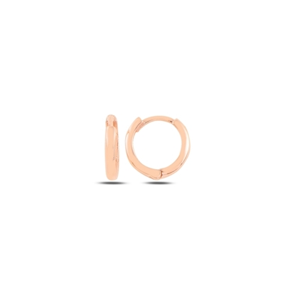 Resim Rose Kaplama 13mm Sade Halka Gümüş Küpe