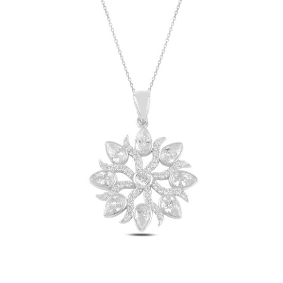 Ürün resmi: Rodyum Kaplama Zirkon Taşlı Gümüş Bayan Kolye