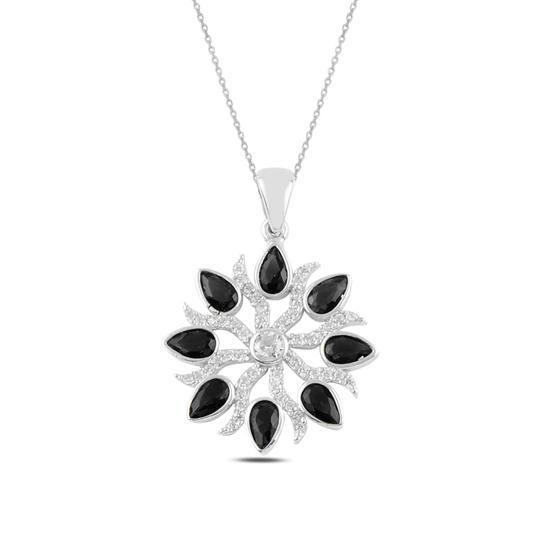 Ürün resmi: Rodyum Kaplama Siyah Zirkon Zirkon Taşlı Gümüş Bayan Kolye
