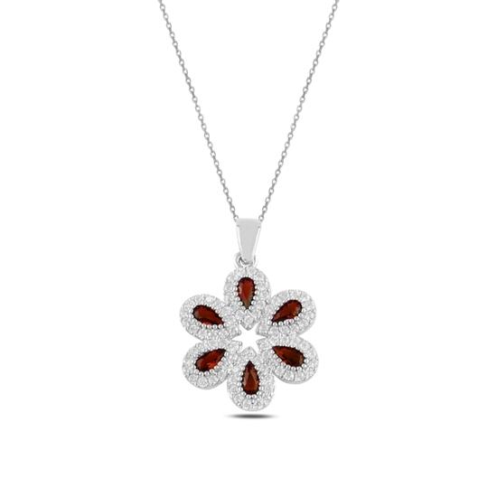 Ürün resmi: Rodyum Kaplama Garnet Zirkon (Koyu Kırmızı) Zirkon Taşlı Gümüş Bayan Kolye