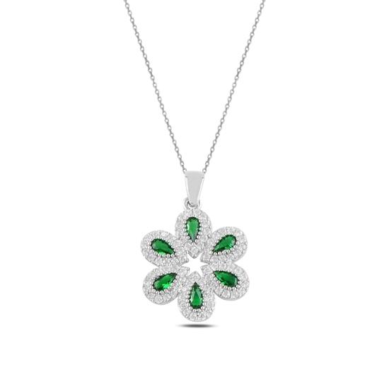 Ürün resmi: Rodyum Kaplama Zümrüt Zirkon (Yeşil) Zirkon Taşlı Gümüş Bayan Kolye