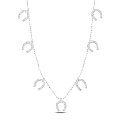 Resim Rodyum Kaplama Nal Zirkon Taşlı Sallantılı Gümüş Bayan Kolye