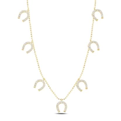 Resim Altın Kaplama Nal Zirkon Taşlı Sallantılı Gümüş Bayan Kolye