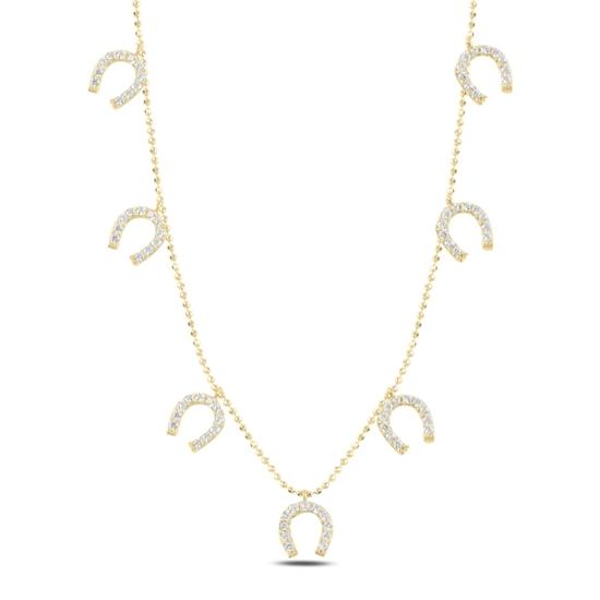 Ürün resmi: Altın Kaplama Nal Zirkon Taşlı Sallantılı Gümüş Bayan Kolye