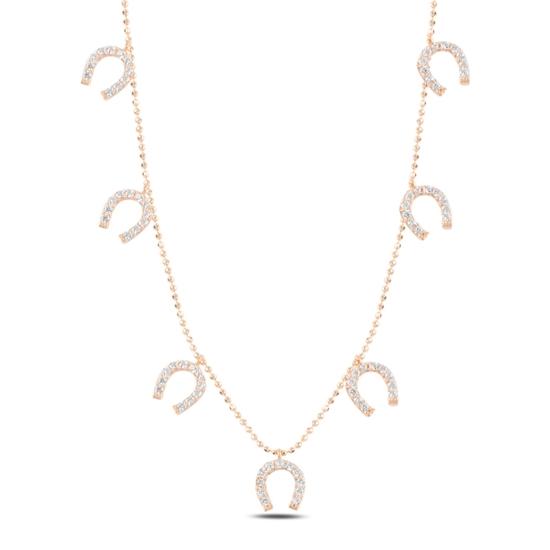 Ürün resmi: Rose Kaplama Nal Zirkon Taşlı Sallantılı Gümüş Bayan Kolye