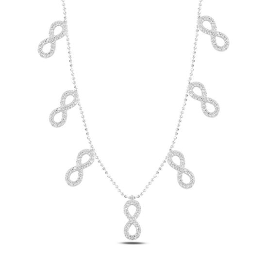 Ürün resmi: Rodyum Kaplama Sonsuzluk Zirkon Taşlı Sallantılı Gümüş Bayan Kolye