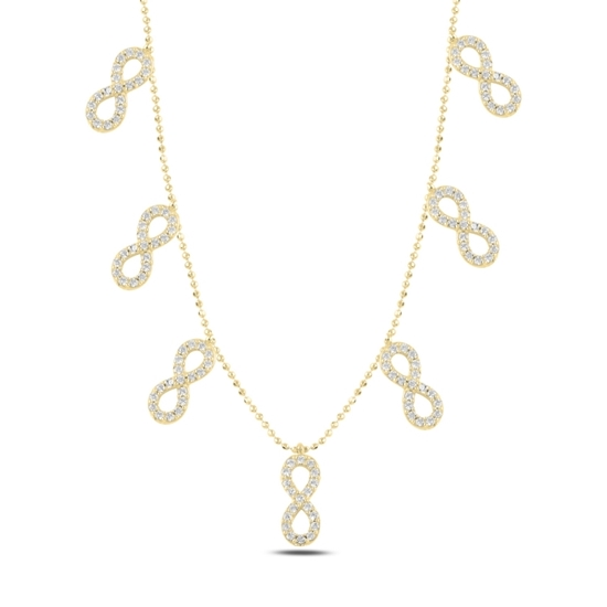 Ürün resmi: Altın Kaplama Sonsuzluk Zirkon Taşlı Sallantılı Gümüş Bayan Kolye