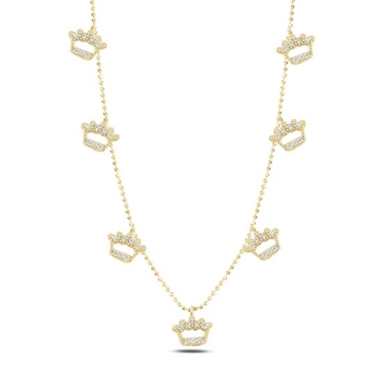 Ürün resmi: Altın Kaplama Taç Zirkon Taşlı Sallantılı Gümüş Bayan Kolye