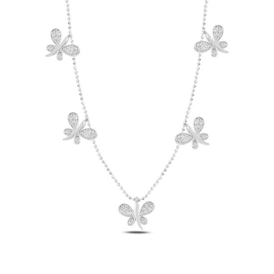 Ürün resmi: Rodyum Kaplama Yusufçuk Zirkon Taşlı Sallantılı Gümüş Bayan Kolye